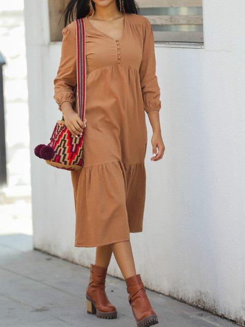 Orange Solid V Neck Casual Cotton-Blend Dresses
