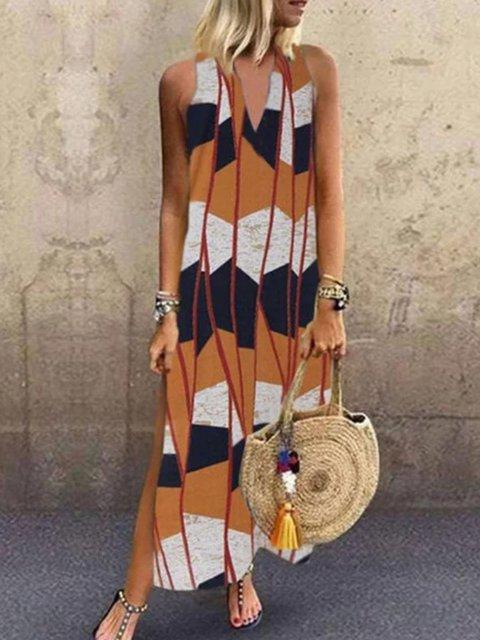 As Picture Geometric V Neck Shift Sleeveless Dresses