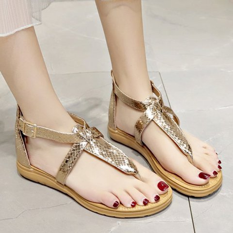 Women Thong Sandals Pu Flat Heel Zipper Casual Shoes