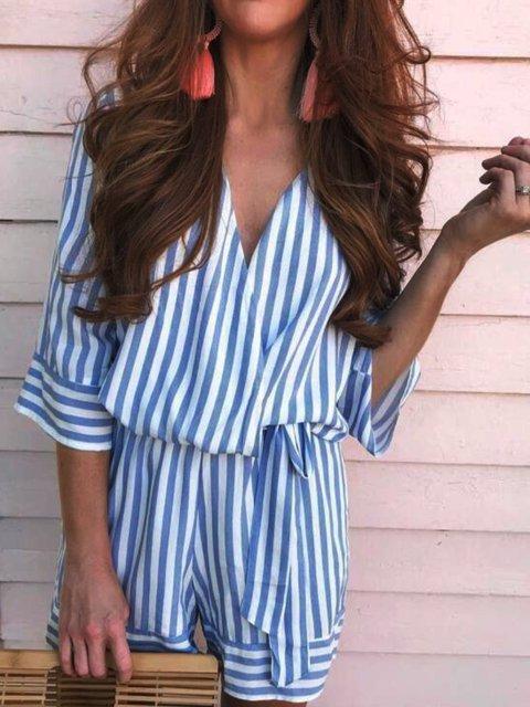 Stripe-Blue Casual Striped V Neck Dresses