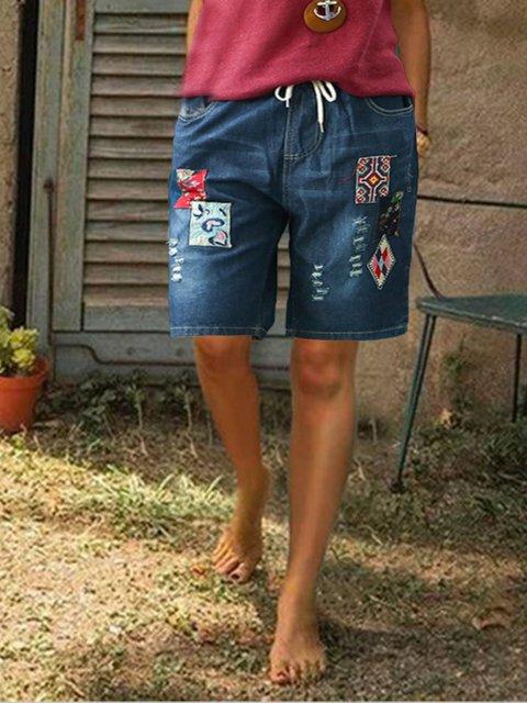 Paneled Denim Pants