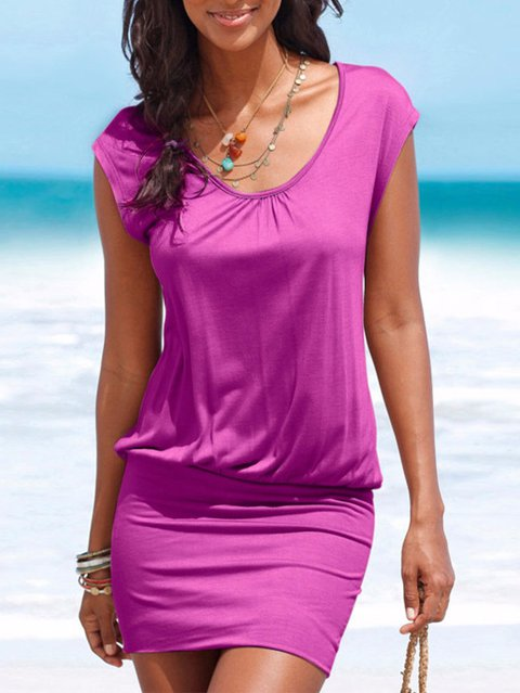Purple V Neck Casual Dresses