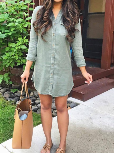 Green V Neck Solid Casual Dresses