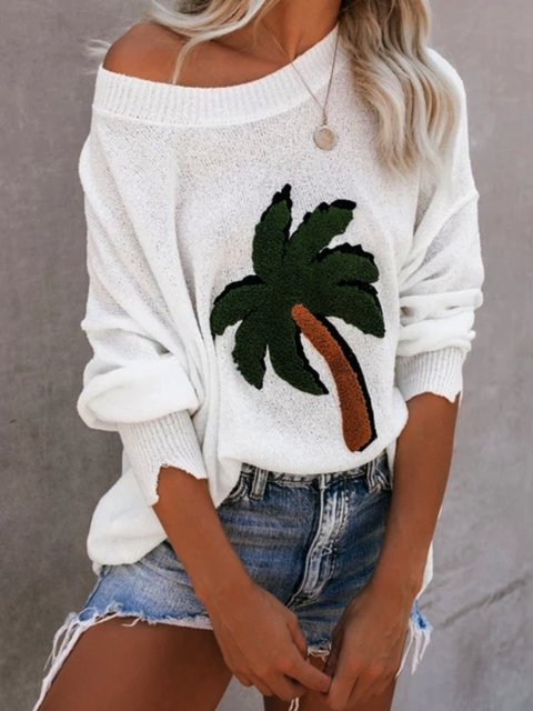 White Floral-Print Round Neck Shirts & Tops