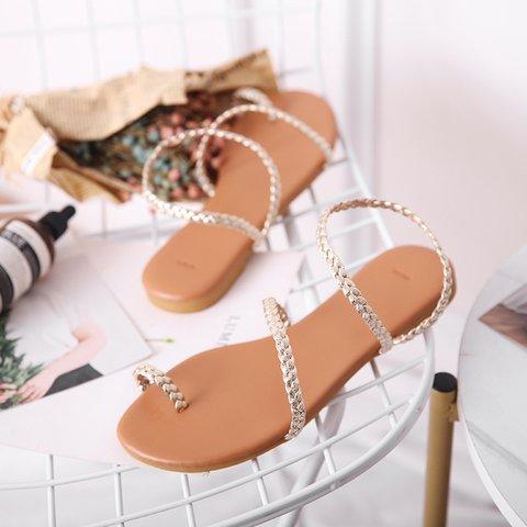 Pi Clue Golden Flat Heel Summer Holiday Sandals