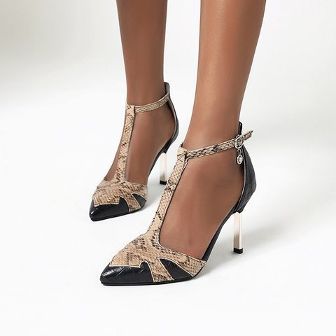 Pointed Sexy Snake Pattern Stitching Hollow Stiletto Heels