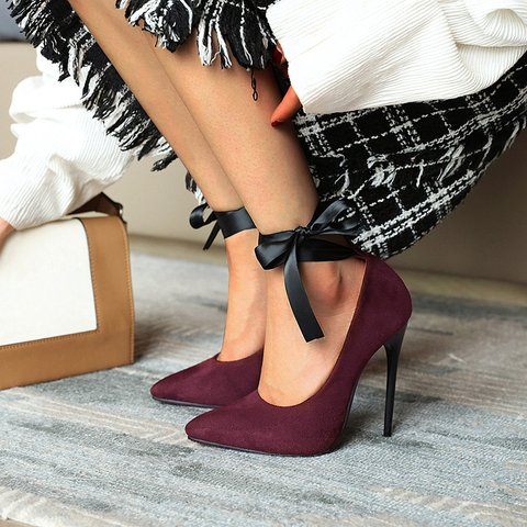 Pointed Suede Ankle Ribbon Sexy Shoes