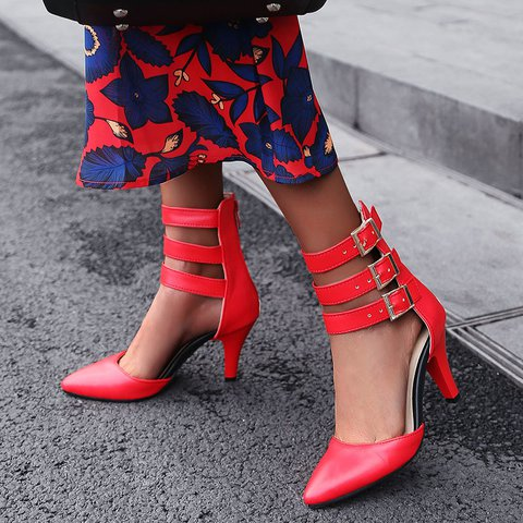 Zip Buckle Pointed Toe Roman Sandals