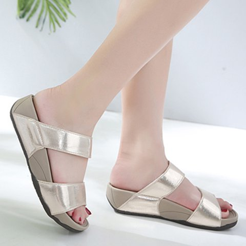 Women Slide Wedge Heel Casual Pu Sandals