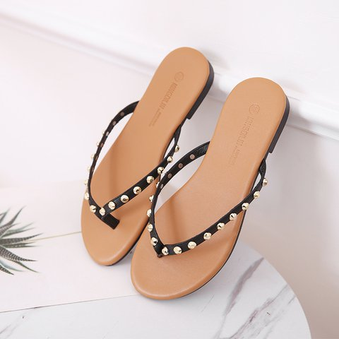 Pi Clue Black Dress Rivet Artificial Leather Slippers
