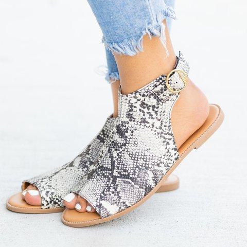 Summer Button Peep Toe Sandals