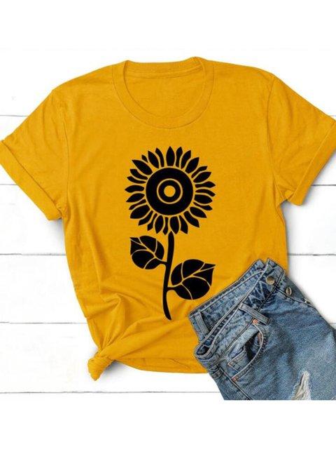 Sunflower Print Crew Neck Shirts & Tops