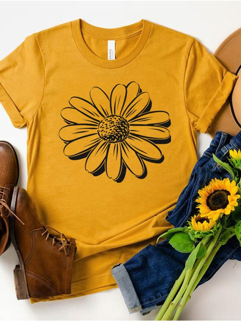 Sunflower Print Short Sleeve Shirts & Tops