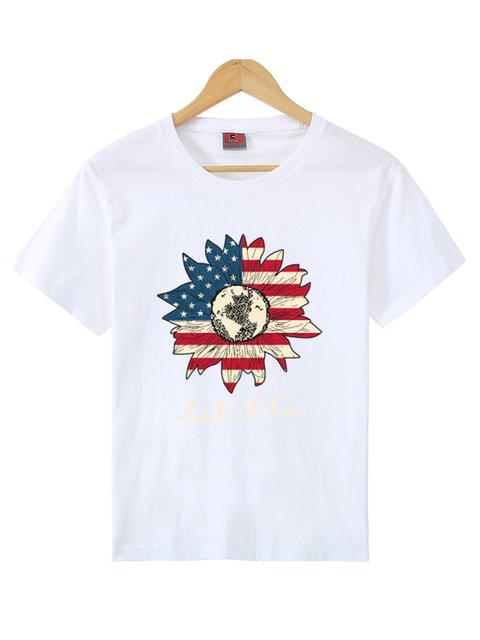 American Flag Mix Sunflower Print Short Sleeve Shirts & Tops