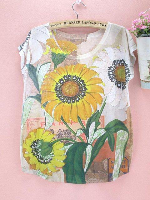 Sunflower Multicolor Crew Neck Short Sleeve Shirts & Tops
