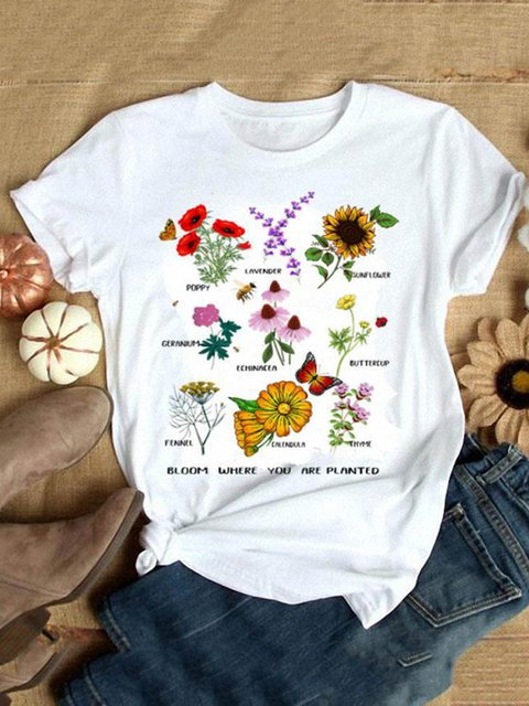 Sunflower White Crew Neck Short Sleeve Shirts & Tops