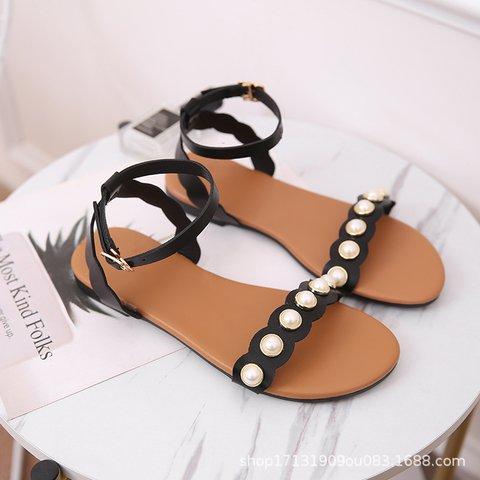 Pi Clue Black Pearl Flat Heel Artificial Leather Dress Summer Sandals