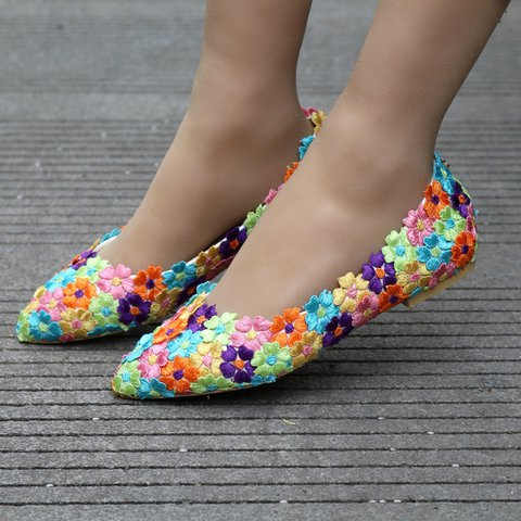 Multicolor Flower Applique Daily Sweet Flats