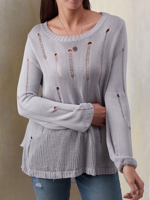 Knitted Casual Crew Neck Cotton Ripped Tops
