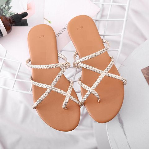 Pi Clue Golden Date Flat Heel Artificial Leather Slippers