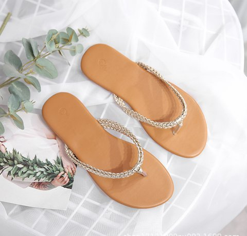 Pi Clue Golden Artificial Leather Flat Heel Summer Beach Slippers