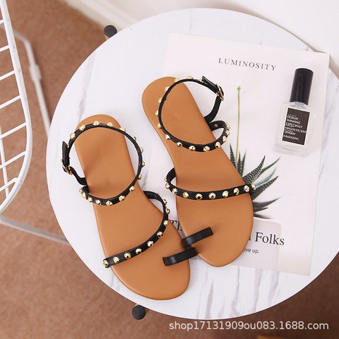 Pi Clue Black Flat Heel Rivet Summer Dress Sandals