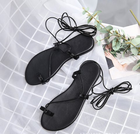 Pi Clue Black Lace-Up Summer Casual Flat Heel Sandals