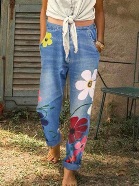 Printed Casual Cotton Pants
