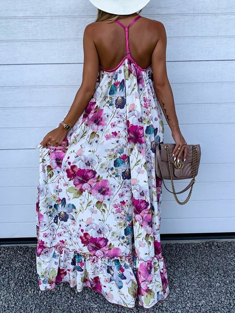 High Low Spaghetti Dress Floral Maxi Dresses