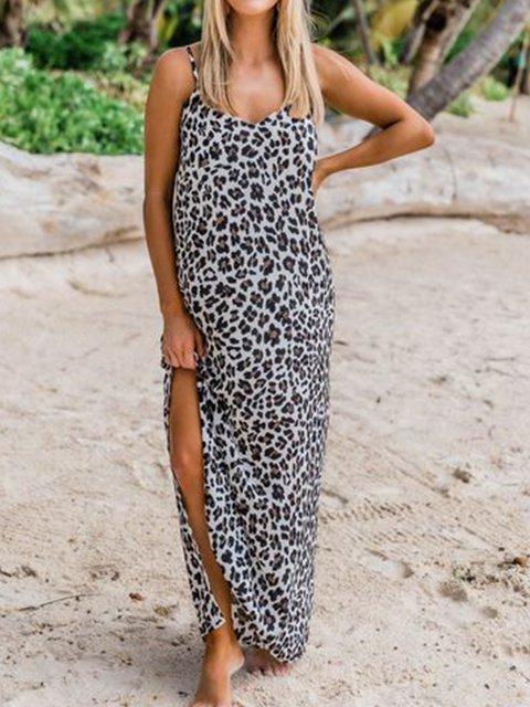Leopard-Print Casual Sleeveless V-neck Maxi Dress