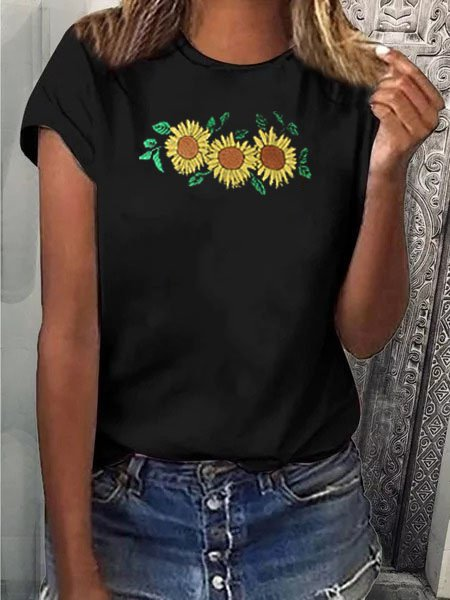 Sunflower Black Crew Neck Shirts & Tops