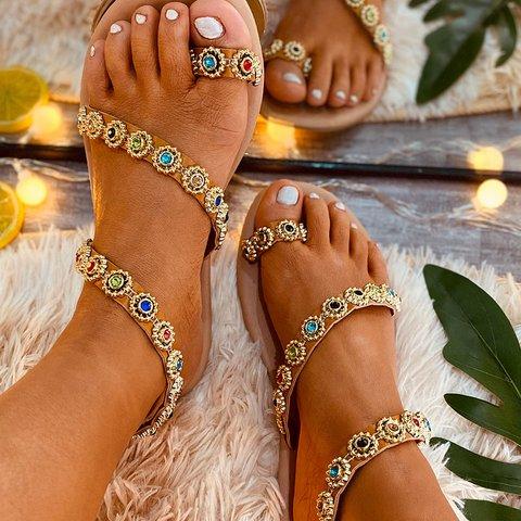 Khaki Summer Date Rhinestone Women's Shoes