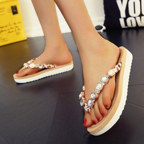 Pi Clue Dress Flat Heel Artificial Leather Summer Slippers