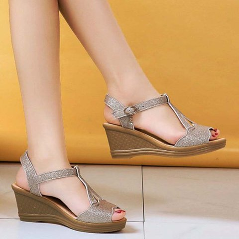 Pi Clue Daily Sparkling Glitter Wedge Heel Sandals