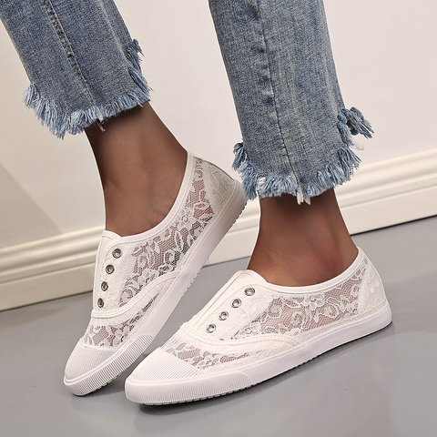 Hollow-Out Lace Holiday Sneakers