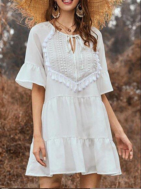White Casual Crew Neck Dresses