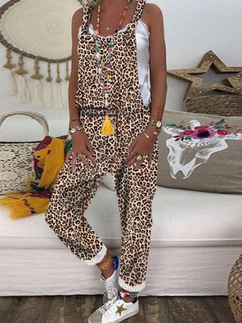 Leopard Sleeveless Paneled Cotton-Blend One-Pieces