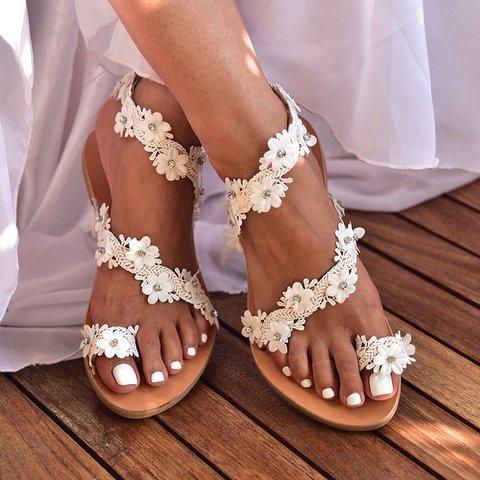 Women Vintage Bohemian Summer Flower Flat Sandals