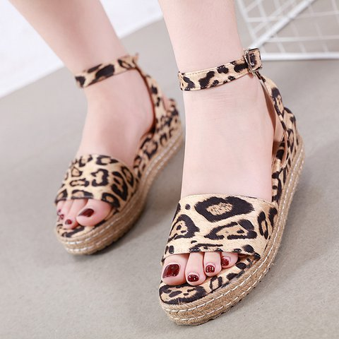 Leopard Summer Button Espadrille Sandals