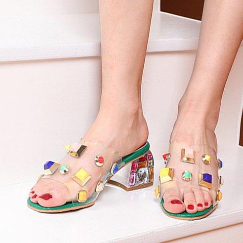 Rhinestone Chunky Heel Summer Slippers