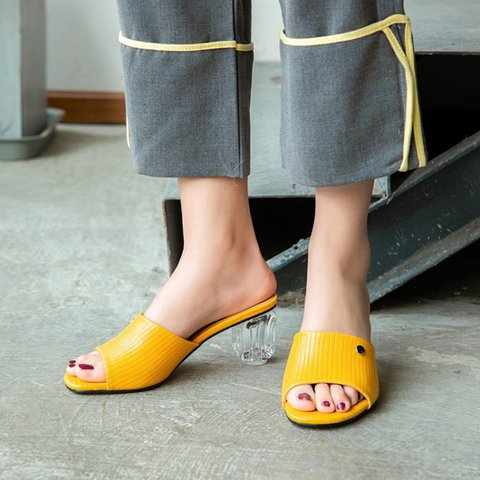 Yellow Chunky Heel Summer Holiday Slippers