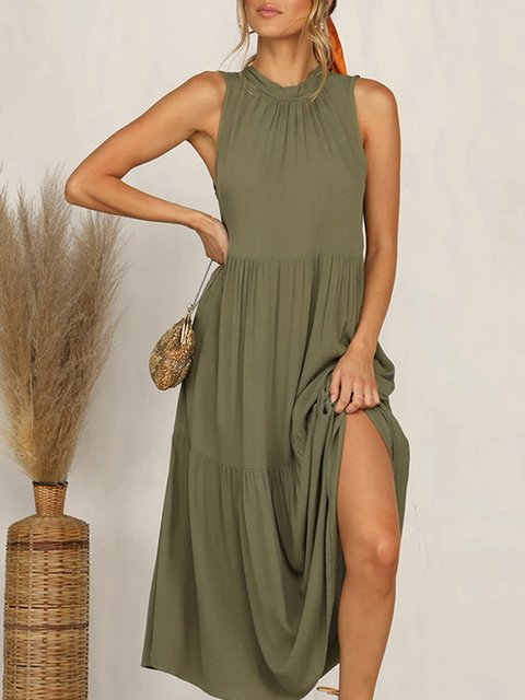 Tiered Ruched Boho Holiday Sun Dress