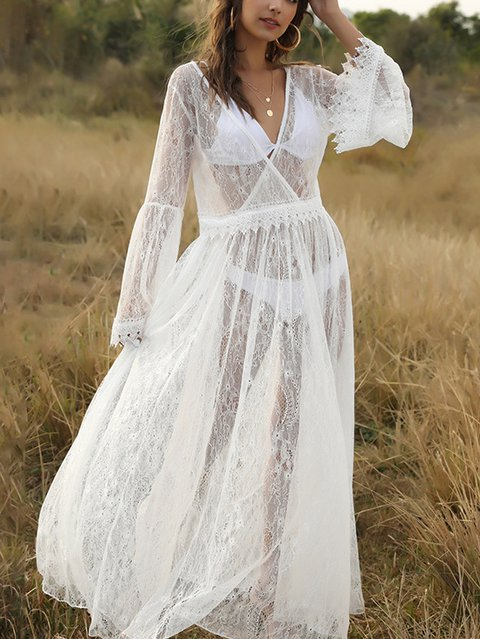 White Lace A-Line Long Sleeve V Neck Maxi Dresses