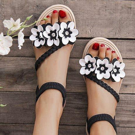Low Heel Summer Applique Braided Sandals