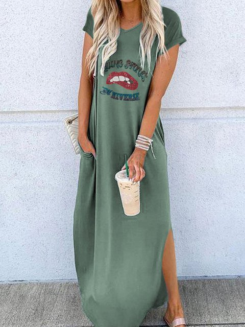 Short Sleeve Printed Casual Maxi Dresses
