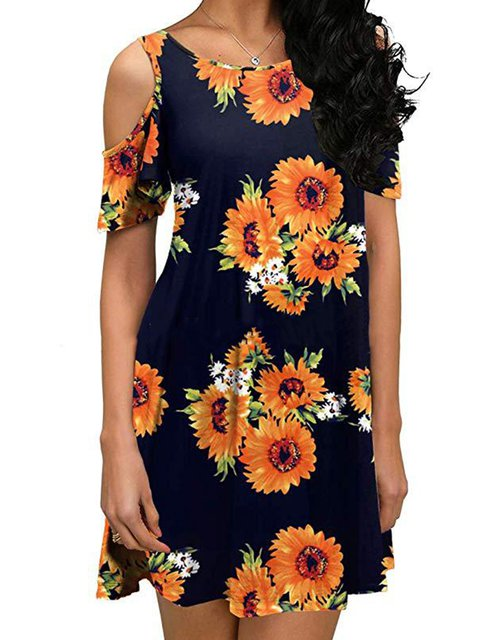 Floral Crew Neck Women Dresses Dresses