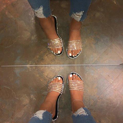 Women Slide EVA Rhinestone Summer Casual Slippers