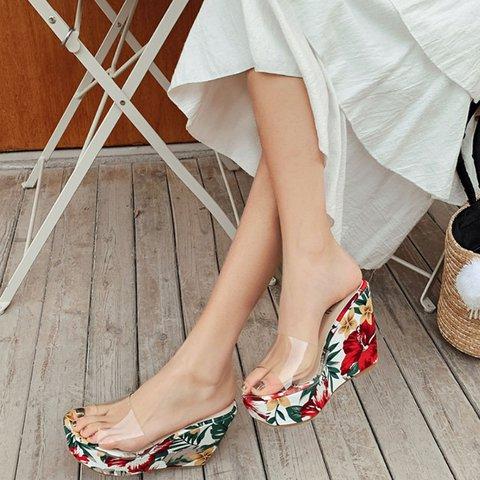 Summer High Heel Printed Pvc Slippers