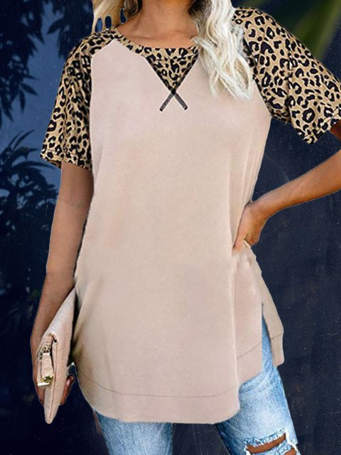 Leopard Short Sleeve Casual Shirts & Tops
