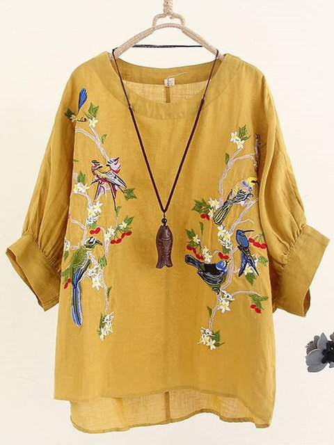 Women Floral Embroidery Half Sleeve Shirts & Tops